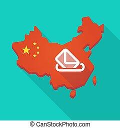 Long shadow China map with a ballot box