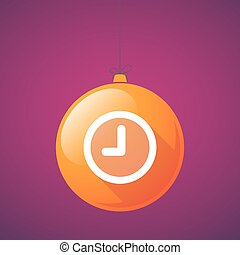 long shadow christmas ball icon with a clock