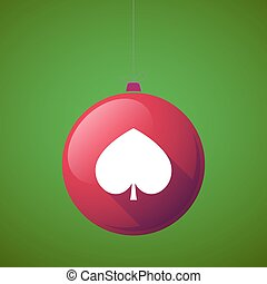Long shadow christmas ball with  the  spade  poker playing card sign