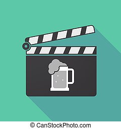 Long shadow clapper board with  a beer jar icon