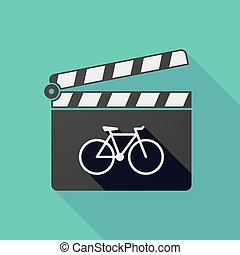 Long shadow clapper board with a bicycle