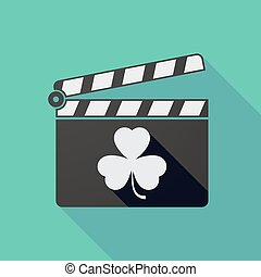 Long shadow clapper board with a clover