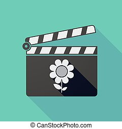 Long shadow clapper board with a flower