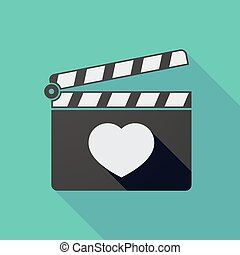 Long shadow clapper board with a heart
