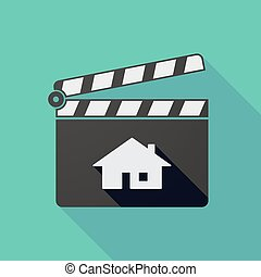 Long shadow clapper board with a house
