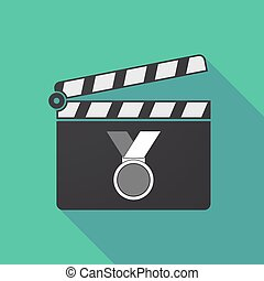 Long shadow clapper board with  a medal
