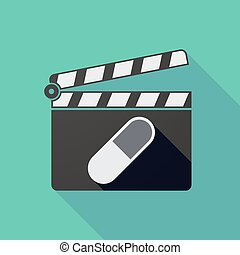 Long shadow clapper board with a pill