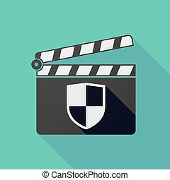 Long shadow clapper board with a shield