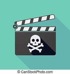 Long shadow clapper board with a skull