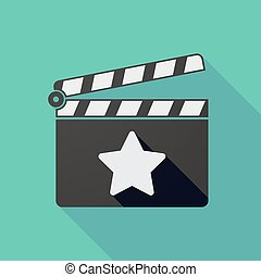 Long shadow clapper board with a star