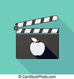 Long shadow clapper board with an apple