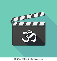 Long shadow clapper board with an om sign - Illustration of...