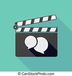 Long shadow clapper board with comic balloons - Illustration...