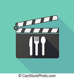 Long shadow clapper board with cutlery