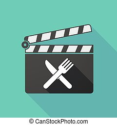 Long shadow clapperboard with a knife and a fork
