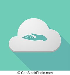 Long shadow cloud icon with a hand offering