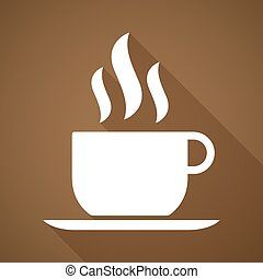 Long shadow coffee cup icon - Illustration of a long shadow ...