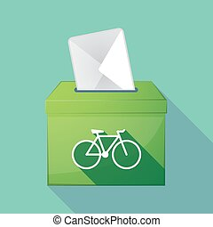 Long shadow coloured ballot box icon with a bicycle
