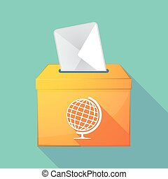 Long shadow coloured ballot box icon with a table world...