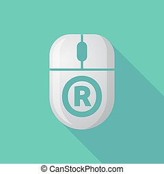Long shadow computer mouse with the registered trademark symbol