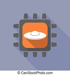 Long shadow cpu with  a flying saucer UFO