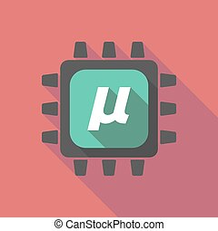Long shadow cpu with a micro sign, mu greek letter -...