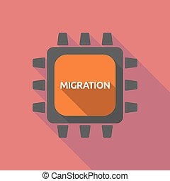 Long shadow cpu with the text MIGRATION - Illustration of a...