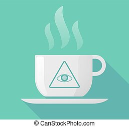Long shadow cup of coffee with  an all seeing eye
