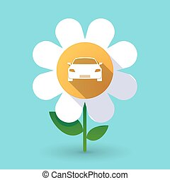 Long shadow daisy with a car