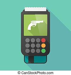 Long shadow dataphone with a gun