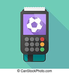 Long shadow dataphone with a soccer ball