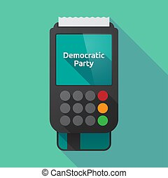 Long shadow dataphone with  the text Democratic  Party