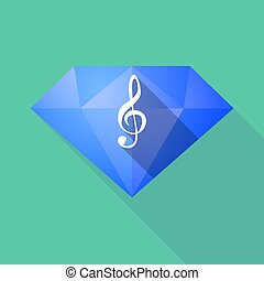 Long shadow diamond with a g clef - Illustration of a long...