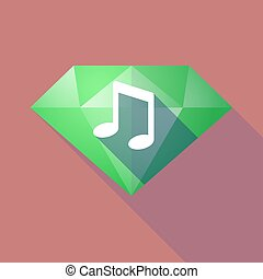 Long shadow diamond with a note music