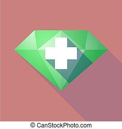 Long shadow diamond with a pharmacy sign