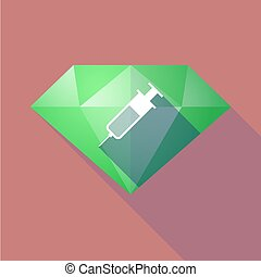 Long shadow diamond with a syringe