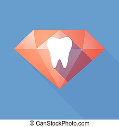 Long shadow diamond with a tooth