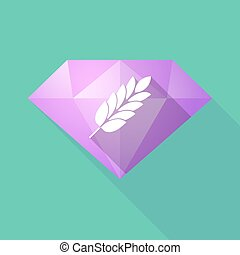 Long shadow diamond with a wheat plant icon
