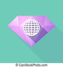 Long shadow diamond with a world globe