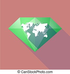 Long shadow diamond with a world map