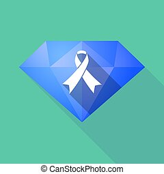 Long shadow diamond with an awareness ribbon