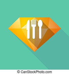 Long shadow diamond with cutlery