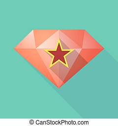 Long shadow  diamond with  the red star of communism icon