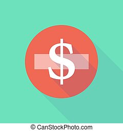 Long shadow do not enter icon with a dollar sign