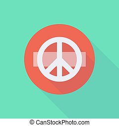 Long shadow do not enter icon with a peace sign