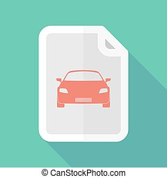Long shadow document icon with a car