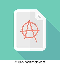 Long shadow document icon with an anarchy sign