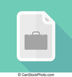 Long shadow document vector icon with  a breiefcase