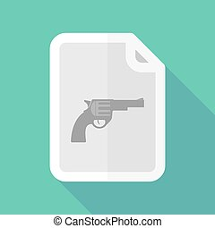 Long shadow document vector icon with a gun