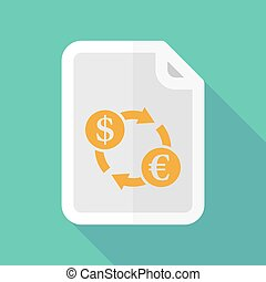 Long shadow document vector icon with a dollar euro exchange sign